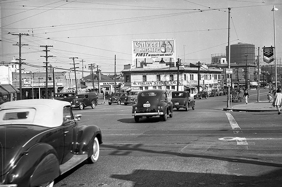 A section of Sunset Boulevard (renamed Cesar Chavez in 1994) in downtown Los Angeles. To the right is N. Spring Street. Date: 1940 (LAPL) Bizarre Los Angeles