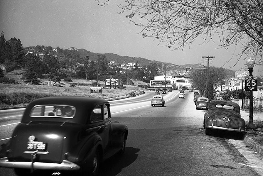 Sunset Boulevard near Doheny Road in West Hollywood. Up ahead, where the white building stands, is 9169 Sunset Boulevard. Photo taken in 1947. (LAPL) Bizarre Los Angeles