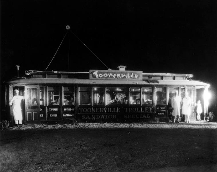 The Toonerville Trolley in Los Angeles, circa 1930s. (Bizarre Los Angeles)