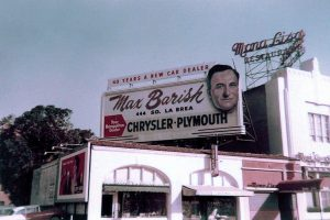 A 1950s era billboard for Max Barish (incorporated in 1949) placed next to the Mona Lisa Restaurant, once located at 3343 Wilshire Boulevard (next to the Gaylord Apartments and across the street from the Ambassador Hotel). Bizarre Los Angeles