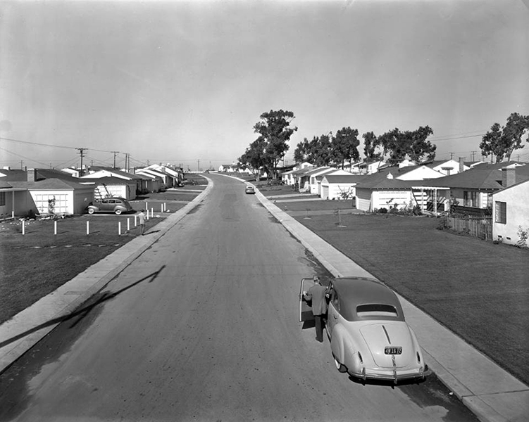 A new housing tract in Westchester, circa 1942 (Huntington Library) Bizarre Los Angeles