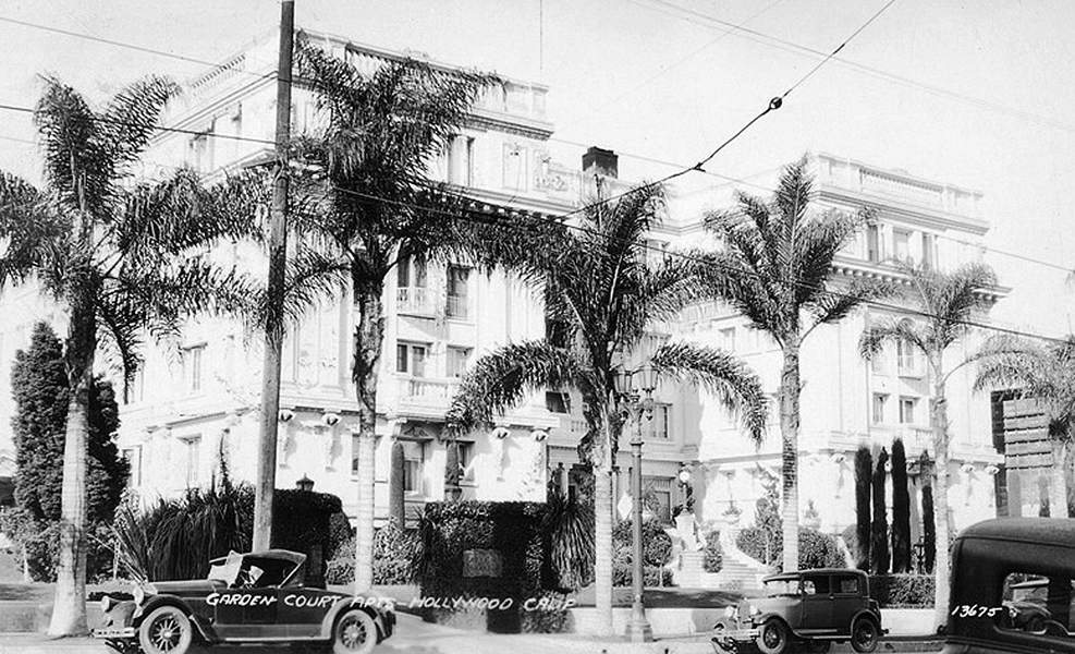 The Garden Court Apartments, once located at 7021 Hollywood Blvd., circa 1931. (Bizarre Los Angeles)