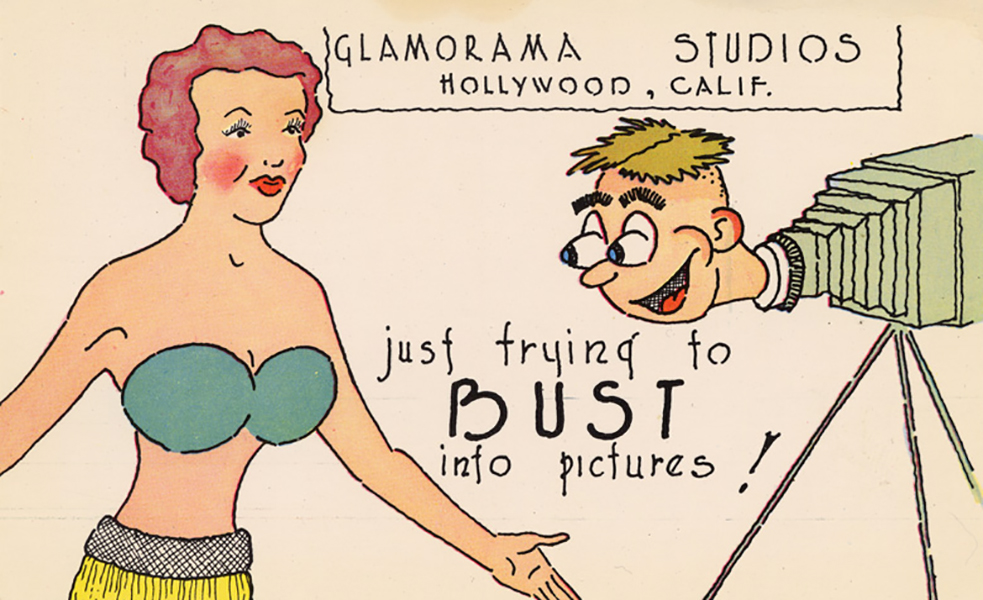 Hollywood or Bust. Postcard from the 1950s. (Bizarre Los Angeles)