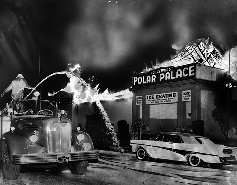 The fiery loss of the Hollywood Polar Palace ice skating rink on the corner of Melrose and Van Ness in May of 1963. The Ice Follies were held there in 1938. (LAPL) Bizarre Los Angeles