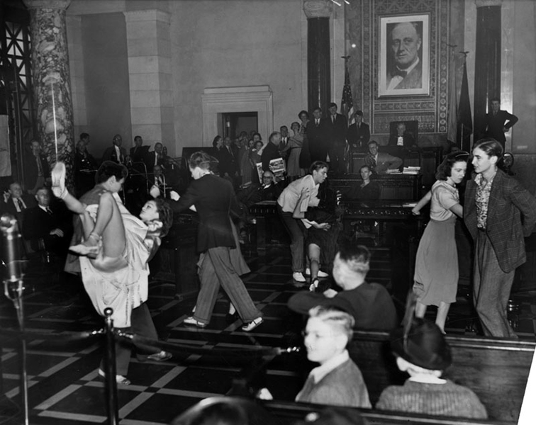 "September 7, 1938. Jitterbugging juveniles disrupt the L.A. City Council to promote the American Legion's ""Jitterbug"" contest at Gilmore Stadium. (Bizarre Los Angeles)"