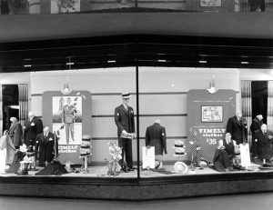 A window display at the Mullen and Bluett Clothing Store, located inside the Walter P. Story Building (610 S. Broadway), circa 1934. (California State Library) Bizarre Los Angeles