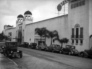 A dance hall that once existed at 245 South Vermont Avenue from 1925 to 1939. It was originally named El Patio. By the time this 1938 photo was taken, however, it was called the Palomar Ballroom. The following year, a fire destroyed the building. (Bizarre Los Angeles)