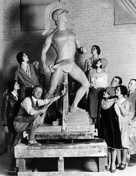 "USC's ""Tommy Trojan"" statue, created by Roger N. Burnham, nearing completion in 1930. The iconic statue was completed at a cost of $10,000. (Bizarre Los Angeles)"