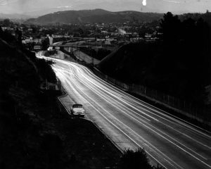 Looking north on the 110 (Arroyo Seco Parkway) in 1948. LAPL 00043593
