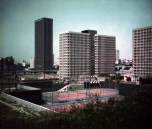 The Bunker Hill Towers (234 S. Figueroa Street) and the Union Bank Building (tall building in the background). Photo taken between 1968 and 1974. The Bunker Hill Towers were constructed in 1966. Its architect was Robert Alexander. (Bizarre Los Angeles)