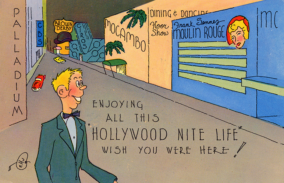 A Hollywood postcard from 1966. (California State Library)