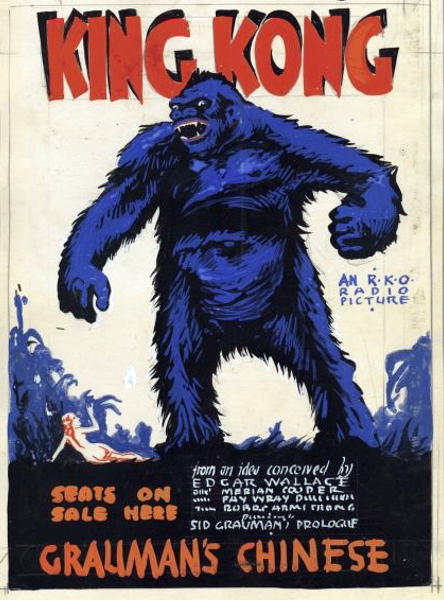 A poster for King Kong (1933) at the Grauman's Chinese Theatre. (Bizarre Los Angeles)