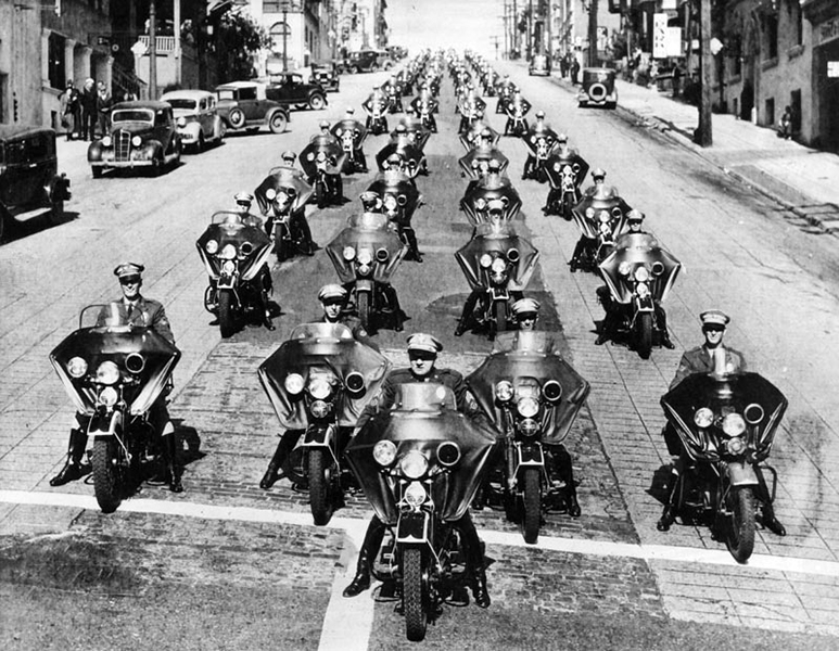 The Los Angeles Police Motor Patrol in 1938.