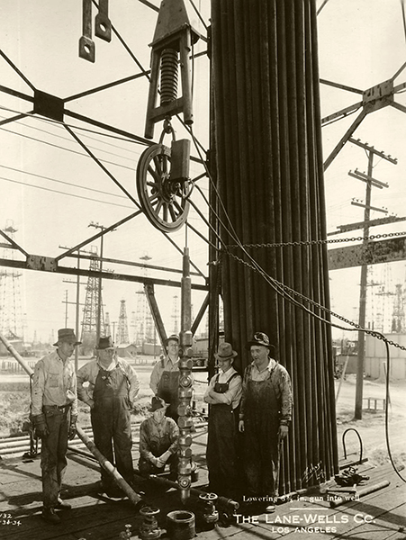 Oil field workers for Lane-Wells, based in Vernon, pose for a photo in Los Angeles, circa 1934.