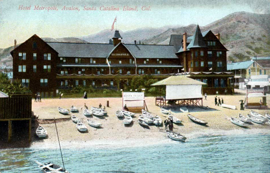 (Hotel Metropole) (1888-1915) was begun by George Shatto in 1888. After the Bannings purchased the island in 1892, a number of additions and improvements were made: 1892 first cupola 1893 east wing 1896 west wing 1897 ballroom annex 1898-1902 second cupola 1902 sea wall 1902-1903 glass sun-parlor 1913 barber shop 1915 shoe-shining November 29, 1915 the hotel burned in the Avalon fire. Today's Hotel Metropole is on the site of the original Metropole.