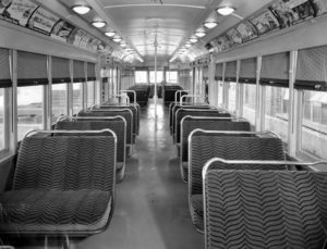 The interior of a Los Angeles Pacific Electric Streetcar in December 1939. LAPL (Bizarre Los Angeles)