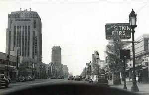 "A vintage dashboard view of Wilshire Boulevard's ""Miracle Mile."" Undated."