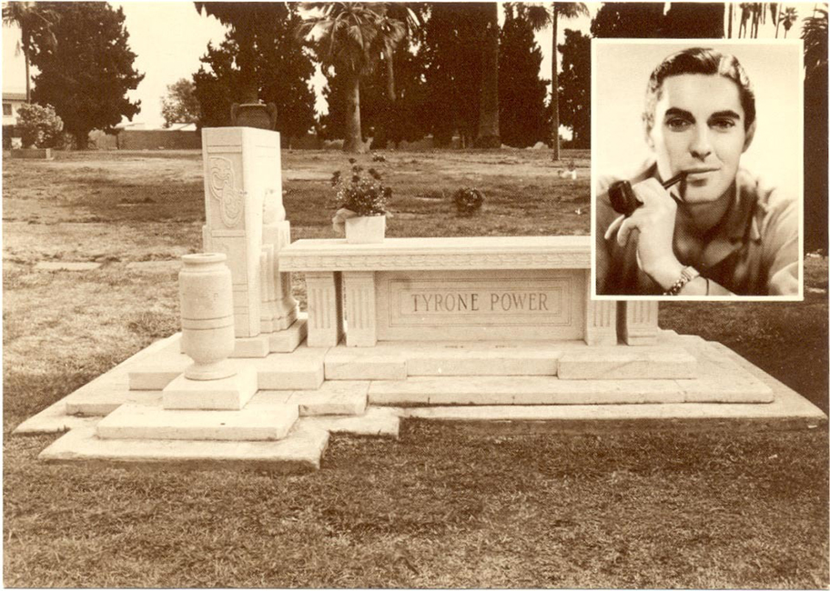 Tyrone Powers' grave, located at the Hollywood Forever Cemetery, Section 8, Lot 265, near a pond. (Bizarre Los Angeles)
