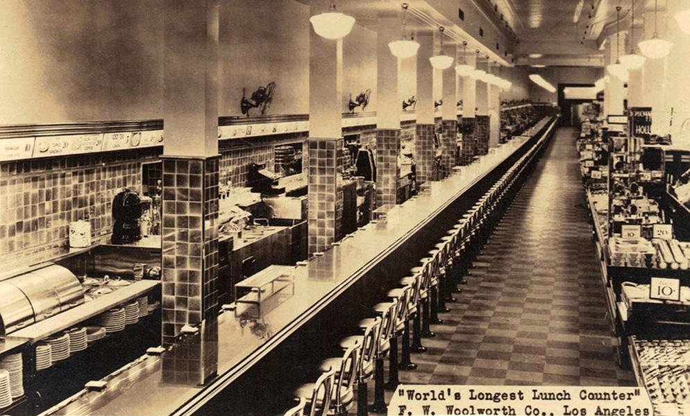 "It seems as though every Woolworth's store in America had ""The world's longest lunch counter."" This is true in Delaware, Colorado, Minnesota, Texas...and California! The list goes on. Here is a postcard of the Los Angeles store at 431 South Broadway, circa 1935. (Bizarre Los Angeles)"