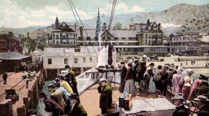 A view of Avalon from the S.S. Cabrillo, which began transporting visitors from San Pedro to Catalina Island in 1904. Ahead is the Hotel Metropole, which was destroyed by fire in 1915. (Bizarre Los Angeles)