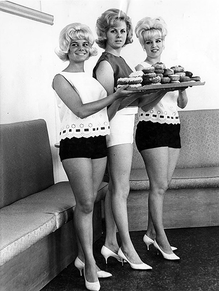Models at the Golden Do-Nut Shop once located at Magnolia and Lankershim in 1964. The girl on the far left is DeDe Lind, who later became the August 1967 Playboy Playmate of the Month. A photo of her apparently was placed onboard the Apollo XII spacecraft in 1969. (Bizarre Los Angeles)