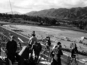 A film crew shooting the horse races at Santa Anita Park in 1935. (LAPL 00081704)