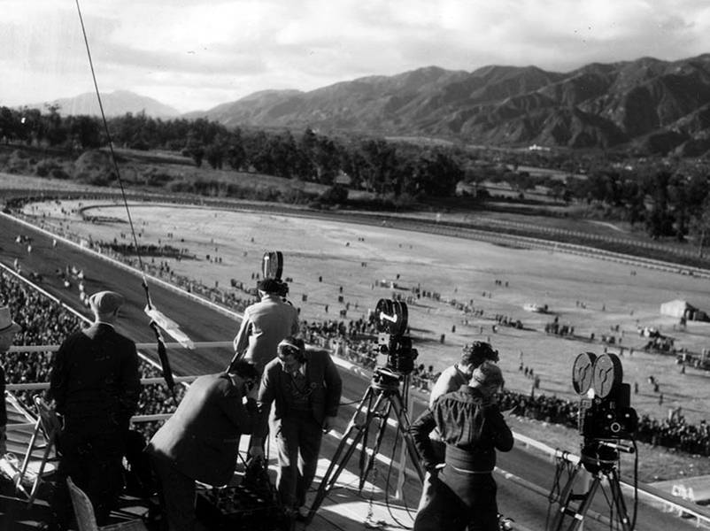 A film crew shooting the horse races at Santa Anita Park in 1935. (LAPL 00081704)