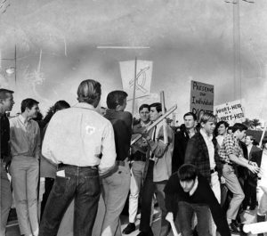 """""""A hairy head is a happy head!"""" Students fight for their right to wear longer hair at Palisades High School in 1966. I sure hope they won, because nobody likes hair loss. (LAPL 00041782)"""