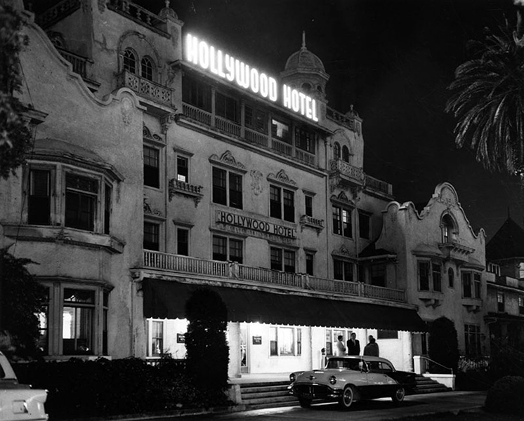 "The Hollywood Hotel, former located on Hollywood Blvd, between Orchid and Highland. Photo was taken in 1956, a few months before demolition. (LAPL) One of the long time residents, who was upset about the plans to raze the hotel, told reporter Ezra Goodman, ""I don't want to go to heaven. I want to stay here."" (Source: Gregory Paul Williams' excellent book, The Story of Hollywood: An Illustrated History). Bizarre Los Angeles"