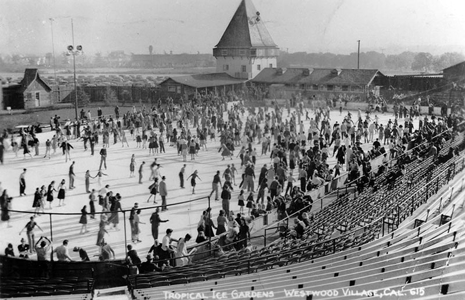 Ice skating at the Tropical Ice Gardens at Westwood Village in 1938 (the year that it opened). The outdoor rink was once located on the southwest corner of Gayley and Weyburn Avenues.