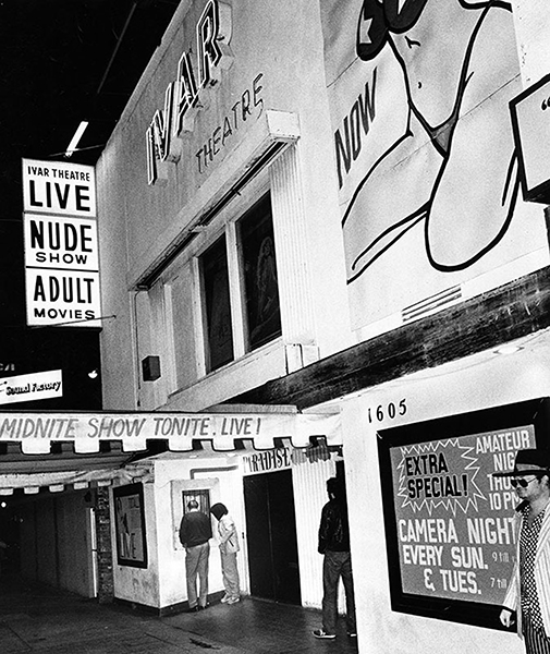 The Ivar Theatre (1605 Ivar Ave.) in 1981. Bizarre Los Angeles.