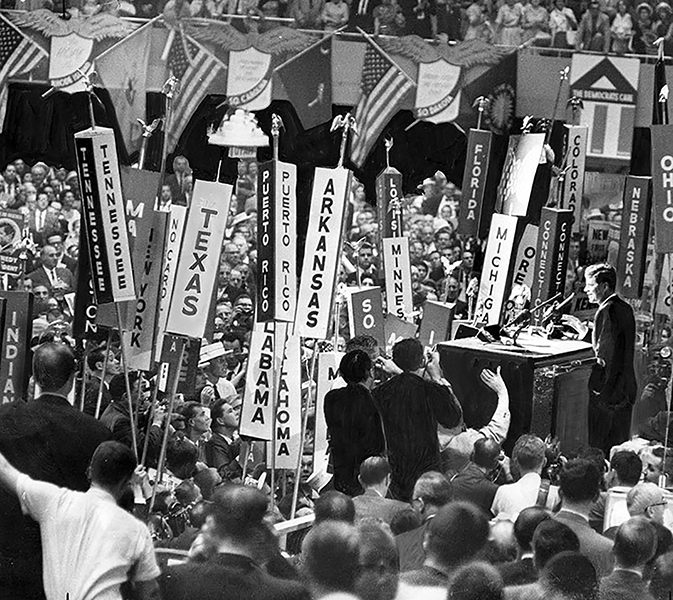 Senator John F. Kennedy accepts the presidential nomination at the National Demographic Convention held at the Los Angeles Memorial Sports Arena (3939 S. Figueroa St.) in July 1960. Afterwards, Kennedy held a meeting at the Biltmore Hotel, where a decision was made to add Lyndon B. Johnson of Texas as his running mate to shore up votes in the south. LAPL 00105432 (Bizarre Los Angeles)