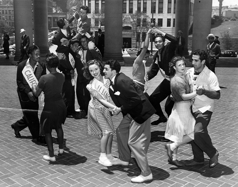 Dancers do the jitterbug at City Hall's portico in 1939. It was a publicity stunt to get Los Angeles Mayor Fletcher Bowron to attend the International Jitterbug Championship at the Los Angeles Coliseum. (LAPL) Bizarre Los Angeles