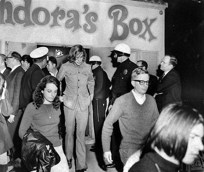 "Pandora's Box, a teen rock club once located at 8118 Sunset Boulevard, was the epicenter of ""the Sunset Strip Riot,"" of the 1960s after LAPD began enforcing a 10:00 p.m. curfew for persons under eighteen. Photo: November 20, 1966. (LAPL 00040771) Bizarre Los Angeles"
