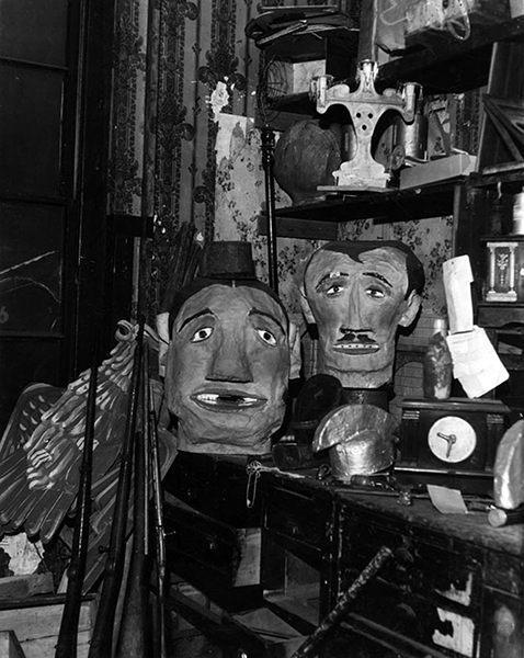 The prop room of the Childs Grand Opera House in April of 1936, after the theater building closed for demolition.The building was once located at 110 S. Main and the props belonged to its last tenants, the El Teatro Mexico. (LAPL 00036860)
