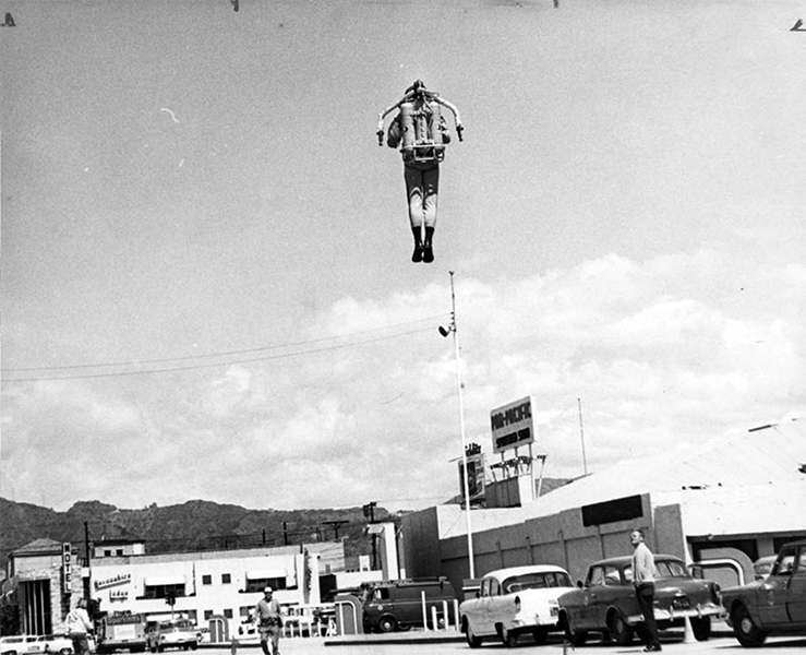 A Bell Rocket Belt demonstration in 1964 at the Pan Pacific Auditorium. The Rocket Belt, running on hydrogen peroxide, had enough power to lift a person over 800 feet in the air at speeds of up to 60 mph if desired. (Photographer: Gordon Dean/LAPL) Bizarre Los Angeles