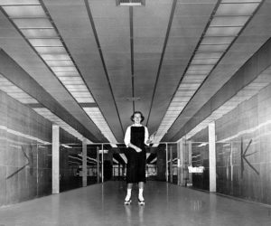 Court Reporter Pat Swanson roller scating inside the newly constructed Los Angeles County Courthouse, circa 1959. (LAPL 00093280) Bizarre Los Angeles