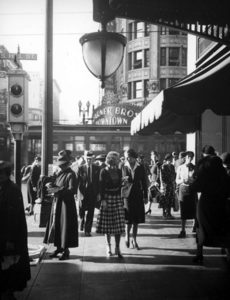 Pedestrian traffic on Seventh Street at Hill in 1937. Photographer: Herman J. Schultheis / LAPL 00097819 (Bizarre Los Angeles)