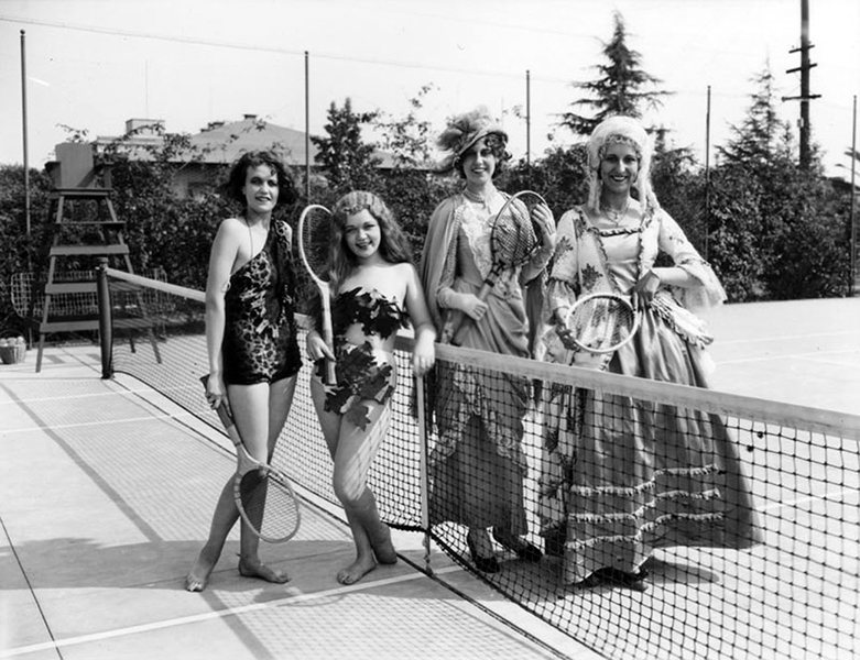 Tennis anyone? Models working at a 1935 fashion show at Bullock's Wilshire pose for a gag photo. (LAPL 00073183) Bizarre Los Angeles
