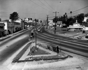 Sunset Boulevard facing west from Palm Ave., circa July of 1940. (LAPL 00039538)