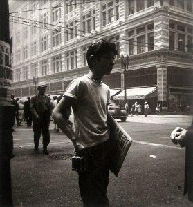 A newspaper boy in Los Angeles. Taken in 1943. Photo by Edmund Teske. (Bizarre Los Angeles)