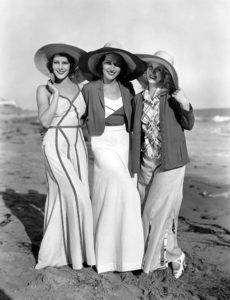 Film players Frances Dee, Adrienne Ames and Judith Wood at the beach in the early 1930s. (Bizarre Los Angeles)
