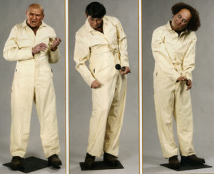 The 3 Stooges -- from hell. All 3 Stooges: estimated value $3,000 - $5,000. Retired from the Hollywood Wax Museum. (Bizarre Los Angeles)