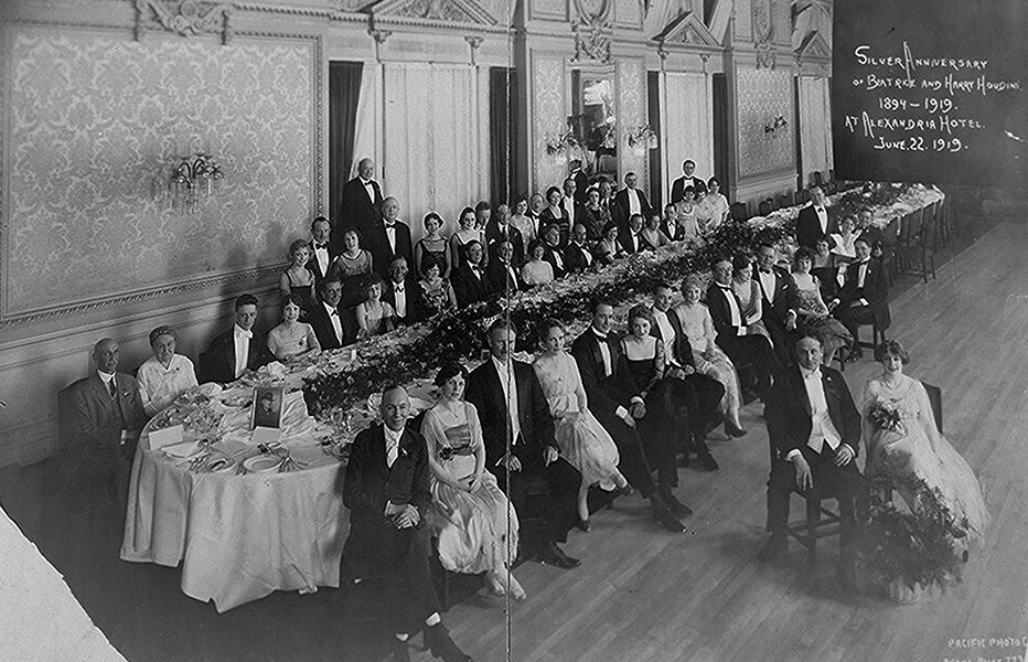 "Harry Houdini and Beatrice celebrated their Silver Anniversary inside the hotel's Rose Ballroom on the second floor on June 22, 1919. Also in attendance is Roscoe ""Fatty"" Arbuckle and wife Minta Durfee. A more pristine version of this photo can be found in my book HAUNTED BY HISTORY VOL. 1. (Bizarre Los Angeles)"