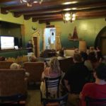 Craig Owens giving a presentation before leading a ghost hunt at the Aztec Hotel on Aug. 11 (Bizarre Los Angeles)