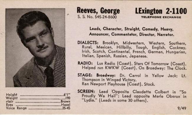 George Reeves' Acting Card (Bizarre Los Angeles)