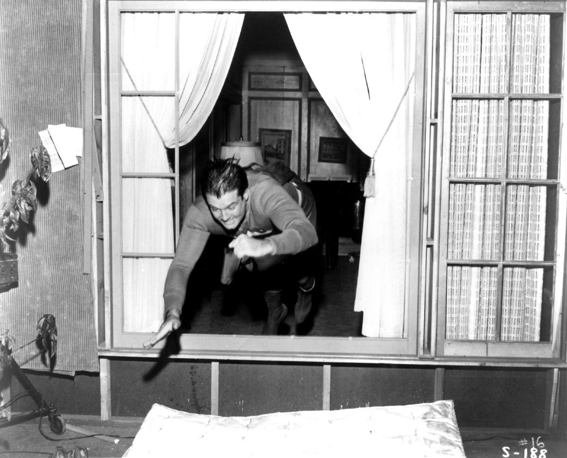 """George Reeves leaping in a single bound on the set of """"The Adventures of Superman."""" Bizarre Los Angeles"""