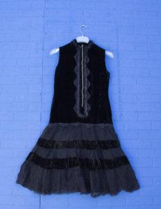 20s Style Black Velvet Lace Party Dress