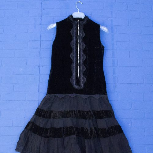 20s Style Black Velvet Lace Party Dress