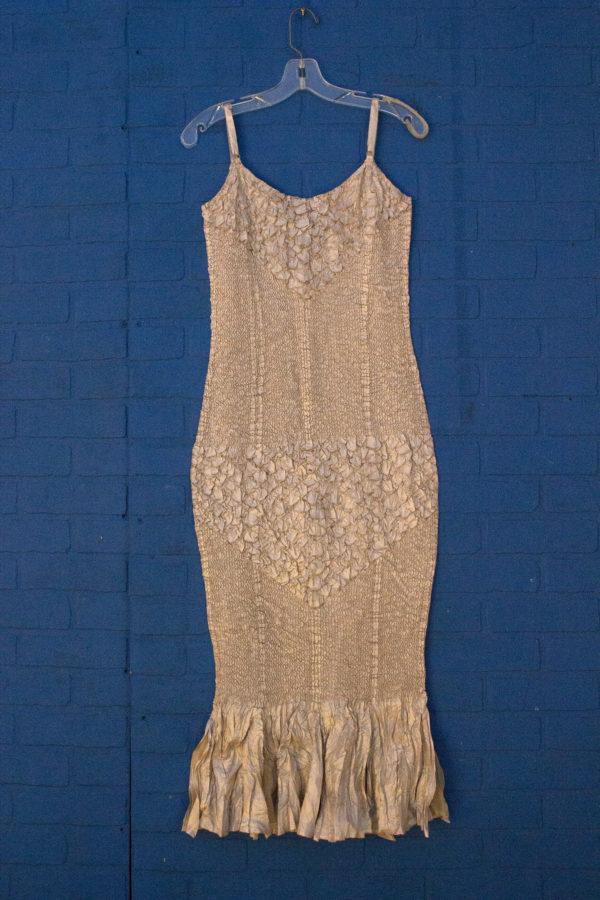 Champagne Silk Chiffon Mermaind Gown with Shawl